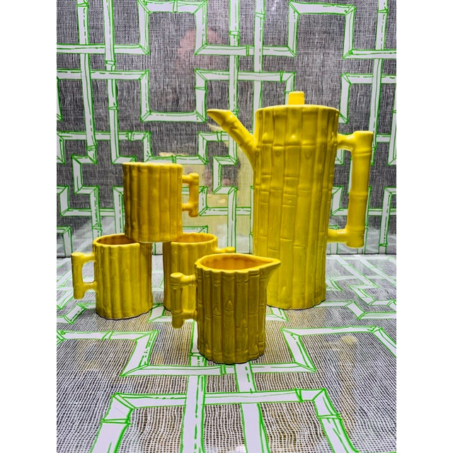 1960s 1960s Hollywood Regency Faux Bamboo Tea Set - 5 Pieces For Sale - Image 5 of 13