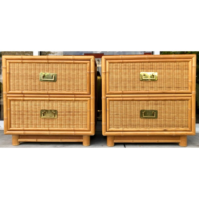 Brown Coastal Style Bamboo/Rattan Nightstands For Sale - Image 8 of 8