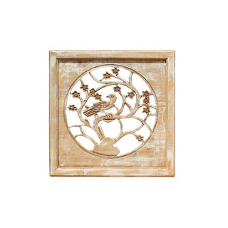 Off White Wash Lacquer Chinese Birds & Flowers Square Wall Panel For Sale