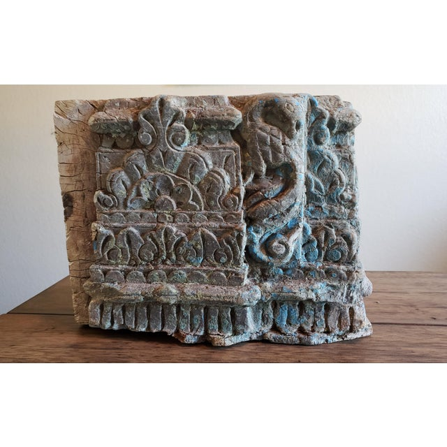 19Th Century Architectural Salvage Carved Wood Moulding Block from India. Nicely carved. Remnants of original paint. Great...