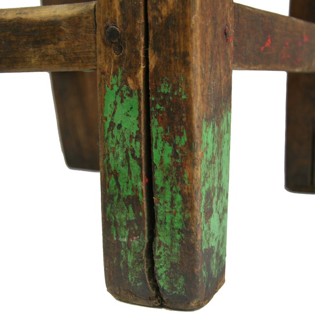 Red Antique Primitive Hand-Carved Chair - Image 3 of 5