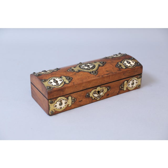 English Traditional 19th C. Brass & Bone Mounts Walnut Box For Sale - Image 3 of 7