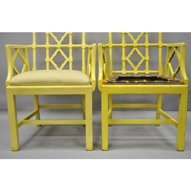 1940s Chinoiserie Hollywood Regency Yellow Fretwork Armchairs - a Pair For Sale - Image 5 of 11