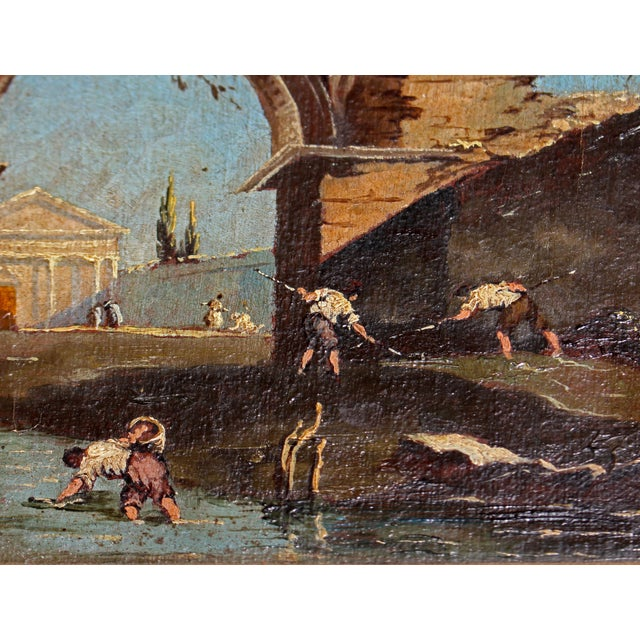 Late 18th Century Oil on Canvas of Ruins & Temple, Italian. For Sale In Raleigh - Image 6 of 9