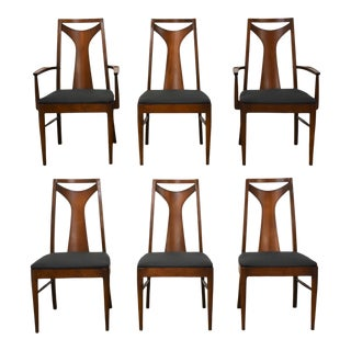 Kent Coffey Perspecta Walnut Dining Chairs- Set of 6 For Sale