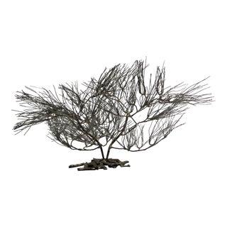 Vintage Artwork Sculpture Wire Nickel Metal Tree Centerpiece For Sale