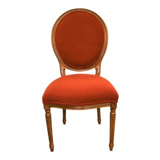 Louis XVI Style Oval Back Dining Chairs With Washable Velvet Fabric, Available for Custom Order For Sale