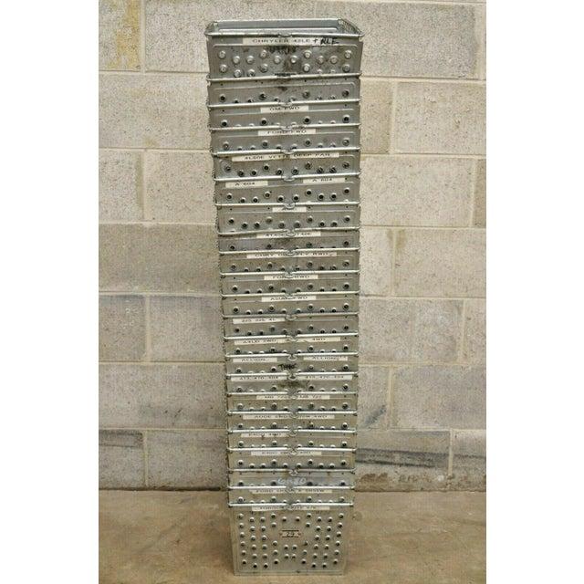 Vintage Kaspar Industrial Wire Works Metal Perforated Storage Gym Locker Basket For Sale - Image 11 of 12