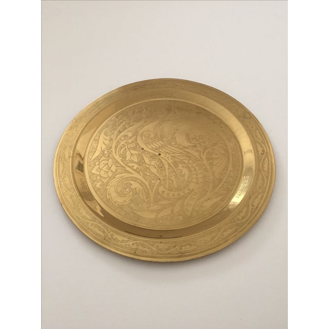 Brass Vintage Mid Century Armenian Solid Brass Hand Etched Peacock Round Serving Tea Tray For Sale - Image 8 of 11
