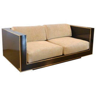 Black and Brass Loveseat, Italy, 1970s, Romeo Rega For Sale