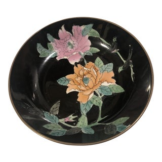 1980s Vintage Floral Asian Influence Hand Painted Dish For Sale