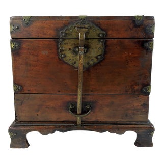 Antique Chinese Brass Embellished Wood Storage or Jewelry Box With Lock For Sale
