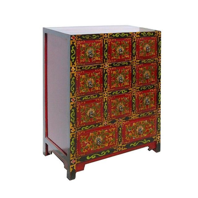 Oriental Tibetan Flower Graphic 11 Drawers Cabinet - Image 3 of 5