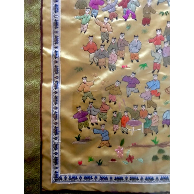 Mid-Century Chinese Silk Embroidered Tapestry For Sale - Image 5 of 5