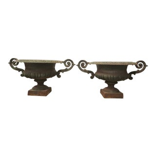 19th Century French Iron Urns - a Pair For Sale