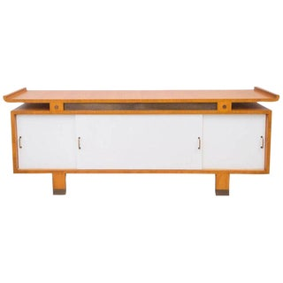 Jacques Quinet Cherrywood and Leather Sideboard For Sale