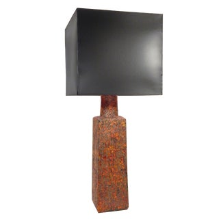 Orange and Grey Ceramic Lamp For Sale