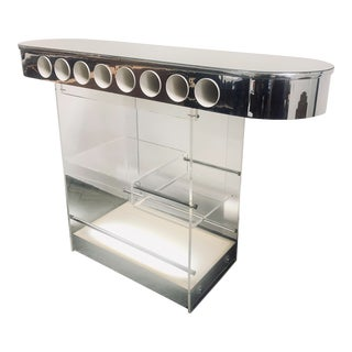 1980s Mid-Century Modern Lucite & Mirror Top Dry Bar For Sale