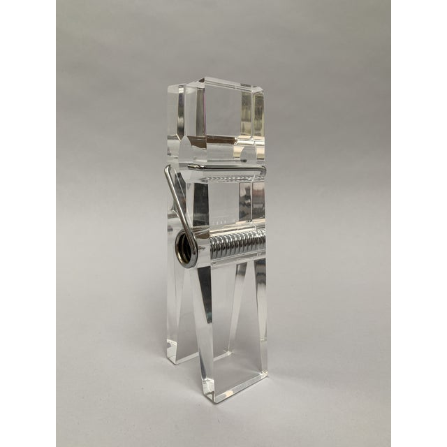 1970s Oversized Lucite Clothespin Paperweight or Paper Holder For Sale - Image 5 of 13