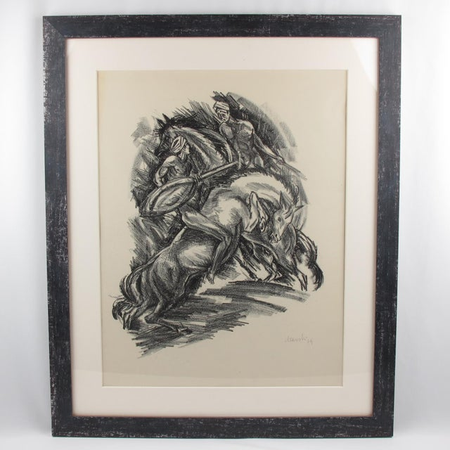Stunning charcoal drawing lithograph print on paper depicting two riders in a wild dance or fight, designed by Adolf...