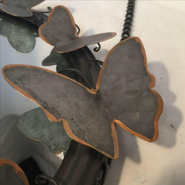 Antiqued Metal Butterfly Mirror - Image 3 of 4