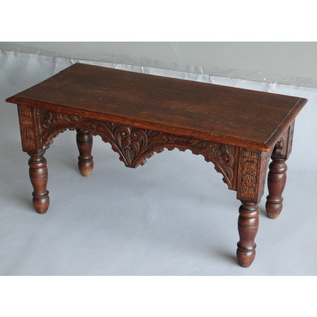 Antique French Carved Oak Bench For Sale - Image 4 of 11