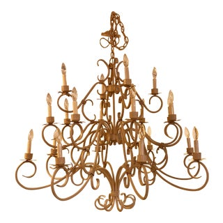 Restored, 20 Light Scrolled Metal Chandelier, Large For Sale