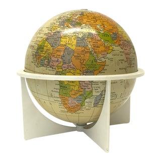 Mid-Century Metal Globe on Stand