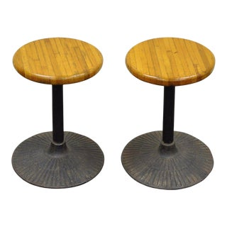 Pair Vintage Industrial Cast Iron & Butcher Block Swivel Low Bar Stools Chairs