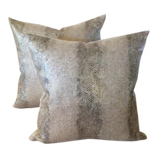 "Designer ""Pyrite Silver"" Linen Pillows - A Pair"