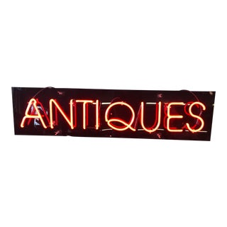 "Vintage Custom Neon ""Antiques"" Sign For Sale"