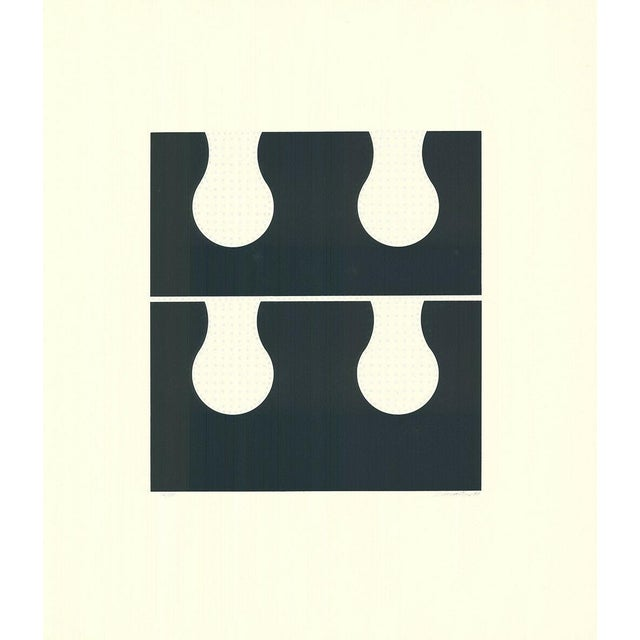 Abstract 1971 Juan Martinez Composition #2 Hand Signed Silkscreen Print For Sale - Image 3 of 6