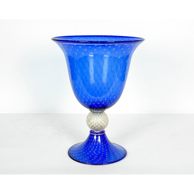 Glass Midcentury Modern Large Scale Cobalt Murano Glass Piece For Sale - Image 7 of 7