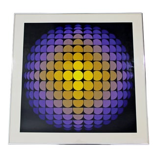 1970s Mid Century Modern Framed Op Pop Art Serigraph Signed Yvaral Vasarely For Sale