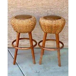 Palecek Rattan and Leather Barstools- a Pair Preview