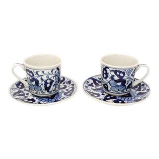 Stoneware Blue & White Tea Cups - a Pair