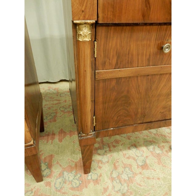 Pair of French Empire Walnut Bedside Cabinets For Sale - Image 9 of 11