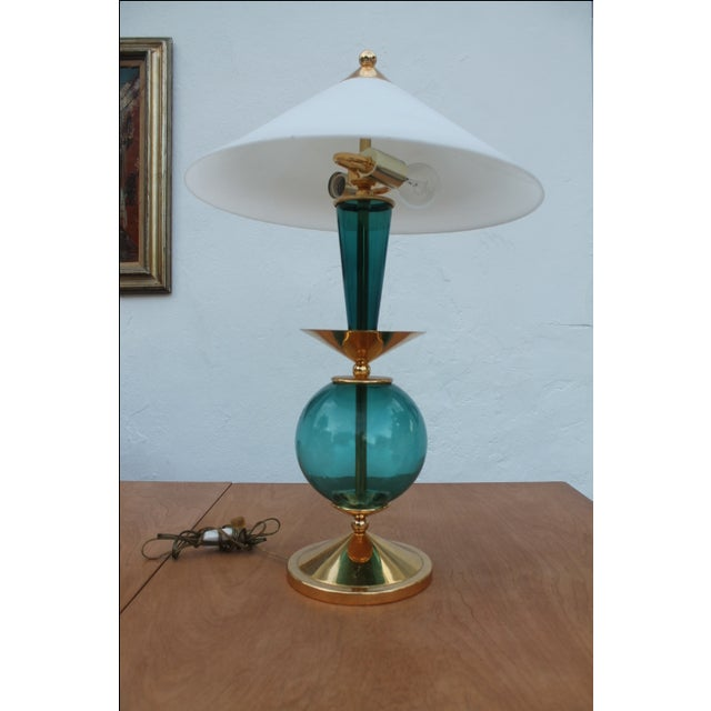Contemporary Blue and Brass Lacquered Table Lamp - Image 11 of 11