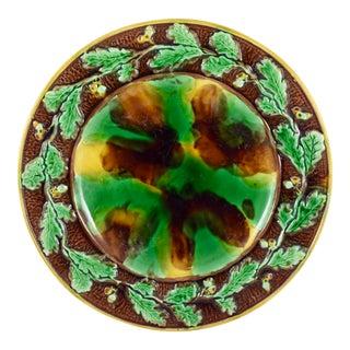 English Majolica Cheese Tray, Tortoiseshell w/ Oak Leaf & Acorn Border For Sale