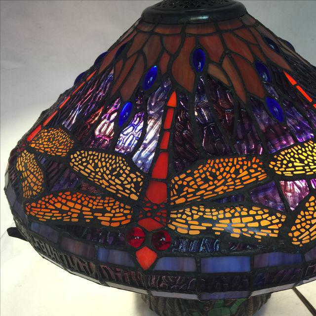 Dragonfly Motif Stained Glass Lamp For Sale - Image 4 of 8