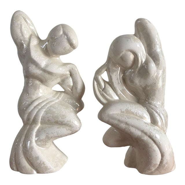 Vintage Post Modern Art Deco Inspired Figurines (A Pair) For Sale