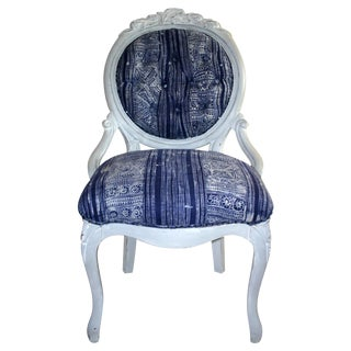 Whitewashed Tufted Victorian Side Chair