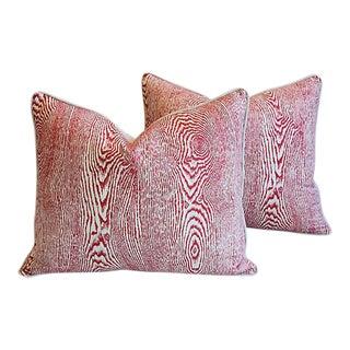 """24"""" X 20"""" Custom Tailored Brunschwig Fils Wood Linen Feather/Down Pillows - Pair"""