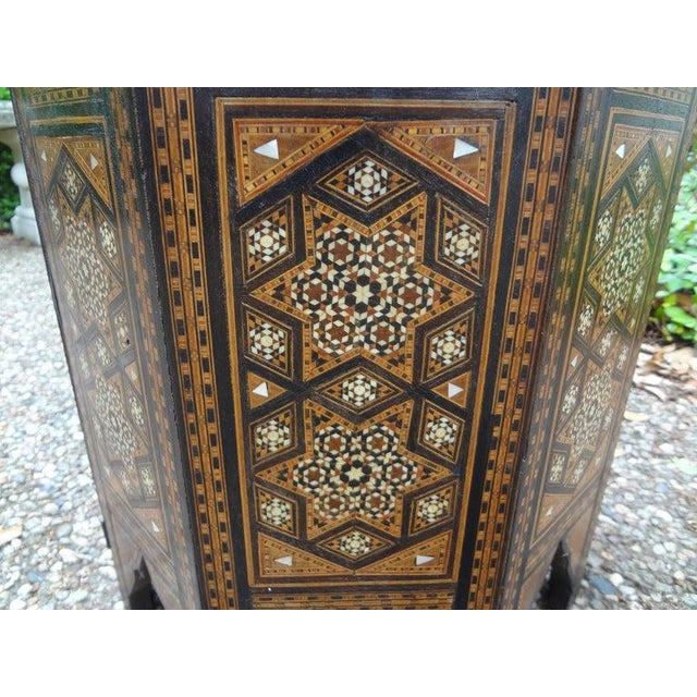 Antique Middle Eastern Arabesque Style Mother of Pearl Inlaid Table For Sale - Image 4 of 13