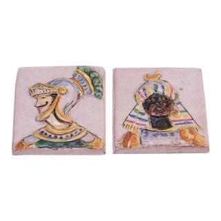 Duo of Italian Figural Terracotta Tiles by Ceramiche Perconte For Sale