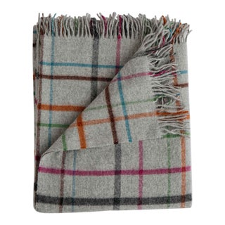 Merino Lambswool Patterned Throw in Fog Plaid Multi For Sale