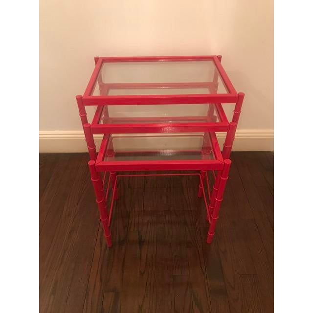 Red Lacqured Faux Bamboo Metal Nesting Tables - Set of 3 - Image 7 of 7