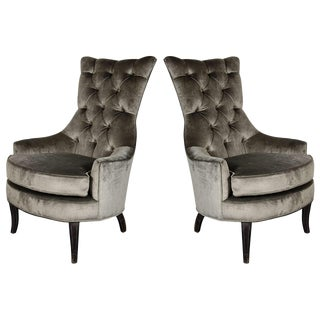 Pair of Mid-Century Modern Tufted High-Back Chairs in Smoked Platinum Velvet For Sale