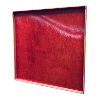 Gilles Caffier Large Horse Hair Square Red Tray For Sale