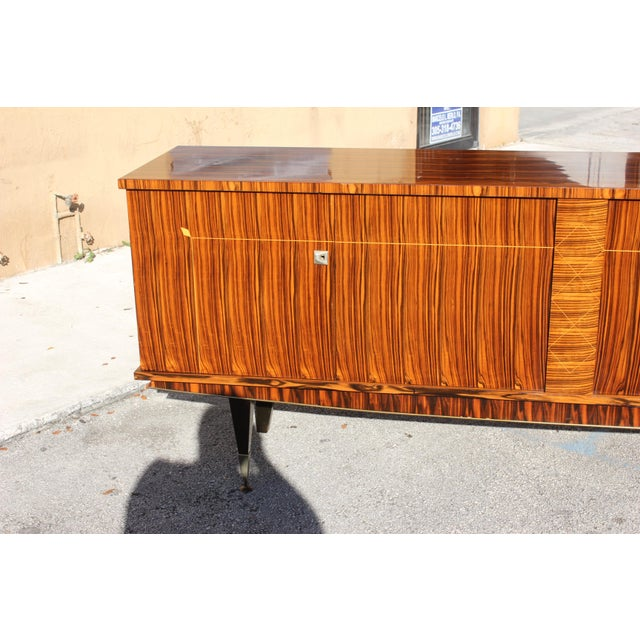 1940sArt Deco Exotic Macassar Ebony Sideboard / Buffet For Sale - Image 9 of 13